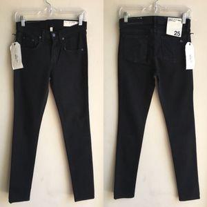 NWT Rag & Bone High Rise Skinny Jeans Black 25